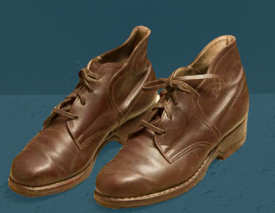 Laced, sewn shoes. Mid 20th century.