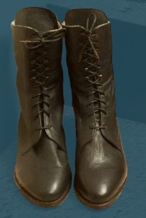 Women's laced boots for wear on festive occasions. This boot was made to show what footwear looked like at the end of the 19th century.