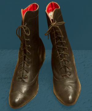 Women's laced boots for festive wear. Made specially to show what footwear looked like at the end of the 19th century.