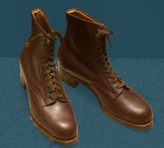 Laced boots, pegged construction. Mid 20th century.