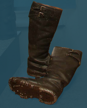 Heavily hobnailed men's boots with pegged construction. Second quarter of the 20th century.