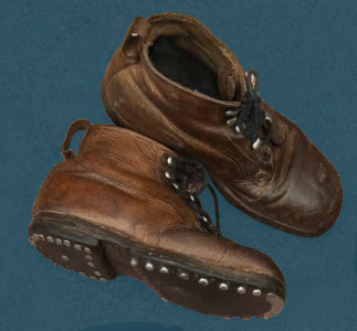 Children's laced boots, pegged construction, with hobnailed soles. Second quarter of the 20th century.