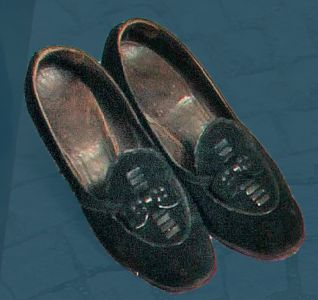 Women's Sunday best shoes made of suede. Mid 20th century.