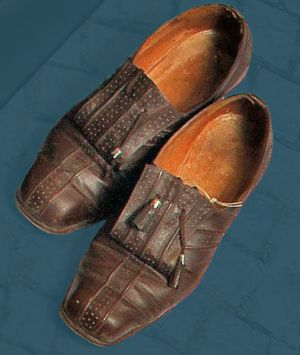 Women's sewn shoes decorated with tassels. Second quarter of the 20th century.
