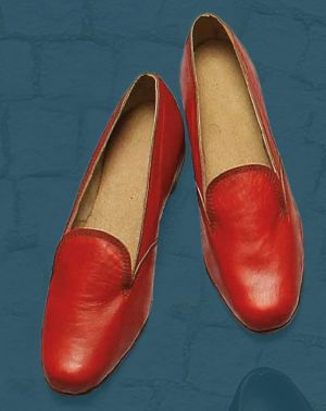 Women's shoes made to show the appearance of footwear in the mid 20th century.