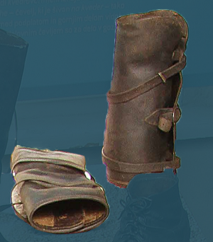 Leather gaiters meant for work in the forest. Second quarter of the 20th century.