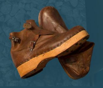 Men's boots with wooden sole. Mid 20th century.