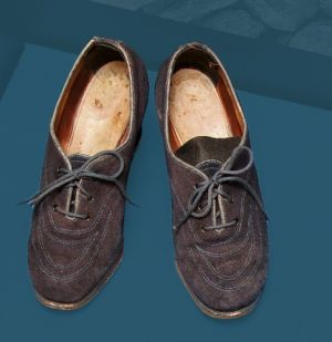 Women's suede wedding shoes. Mid 20th century.