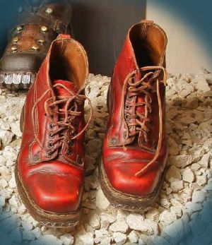 Hardwearing laced men's boots with hobnailed soles. Mid 20th century.