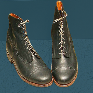 Men's laced boots made to show what footwear looked like at the end of the 19th and the beginning of the 20th century.